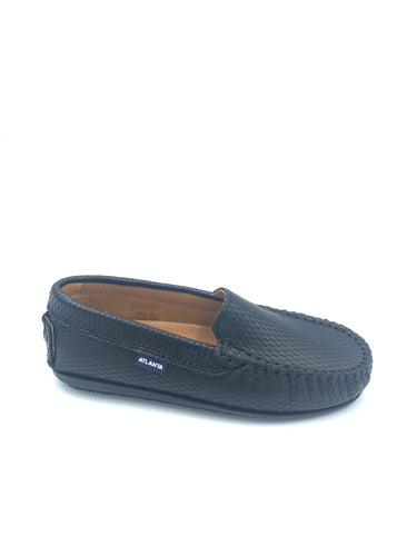Atlanta Mocassin Black Textured Loafer 14222