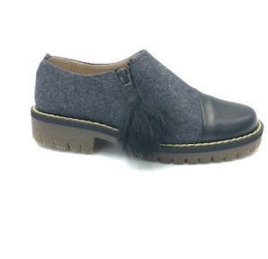 Zubii Grey Flannel Side Zipper Loafer 385727. **Final Sale