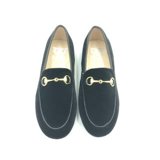 Hoo Black Velvet Chain Slip On