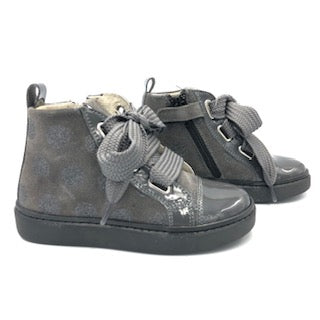 Shoe B 76 Grey Lace High Top Side Zipper Sneaker1752