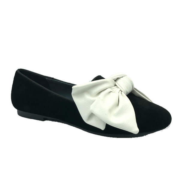 Black Suede White Bow Slip On Dress Shoe