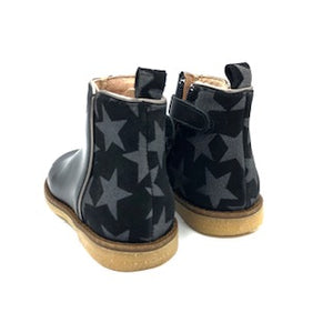 Acebos Black Leather Silver Star Bootie 3120