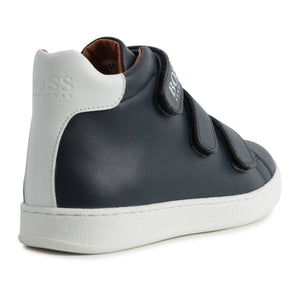 Hugo Boss Navy Blue High Top Velcro Trainers 9136 / 9220