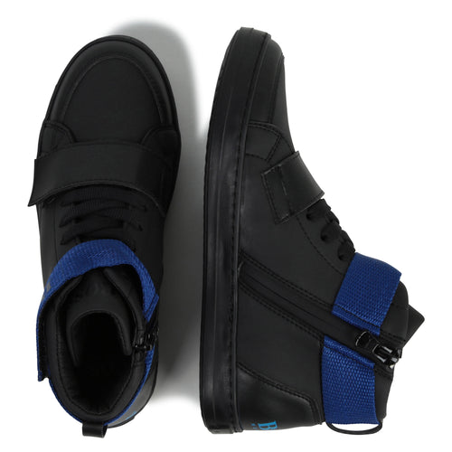 Hugo Boss Black Blue High Top Trainer with Side Zipper Closure