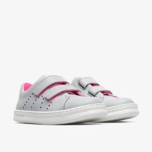 Camper Grey Leather Neon Pink Velcro Sneaker