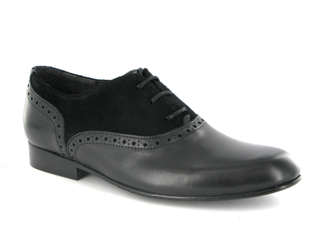 Atlanta Mocassin Black Suede and Leather Laced Oxford