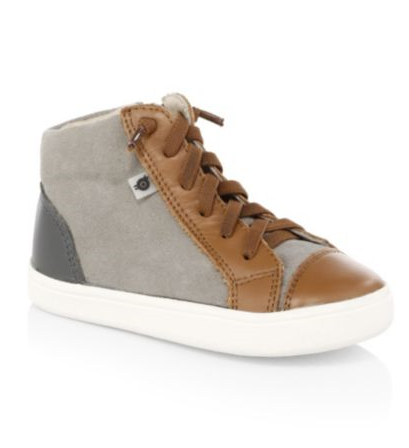 Oldsoles Tan Grey High Top No Tie Sneakers 6026