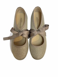 Childrenchic Silver Lace Bow Slip On Shoe 112747