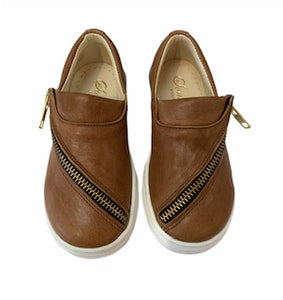 Sonatina Slide Cognac Zipper Slip On Sneaker