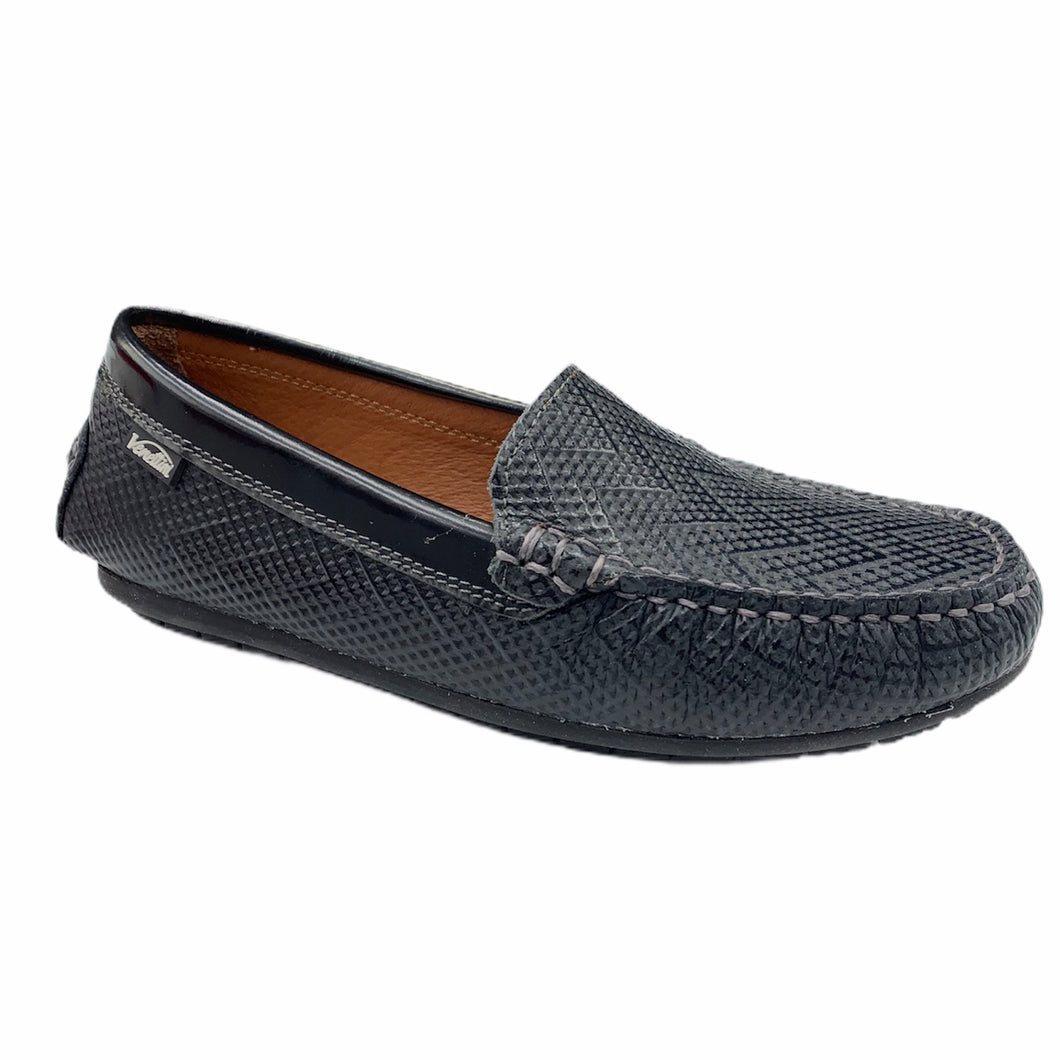 Venettini Black Stock Leather Loafer Moccasin M0036
