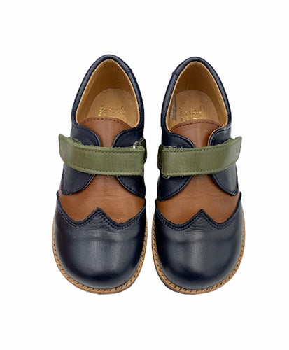 TNY Navy Green Tan Velcro Dress Shoe 13696