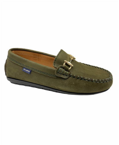 Atlanta Mocassin Green Nubuck Chain Slip On Loafer 15931