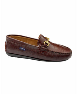 Atlanta Mocassin Brown Crocodile Print Chain Loafer 15938