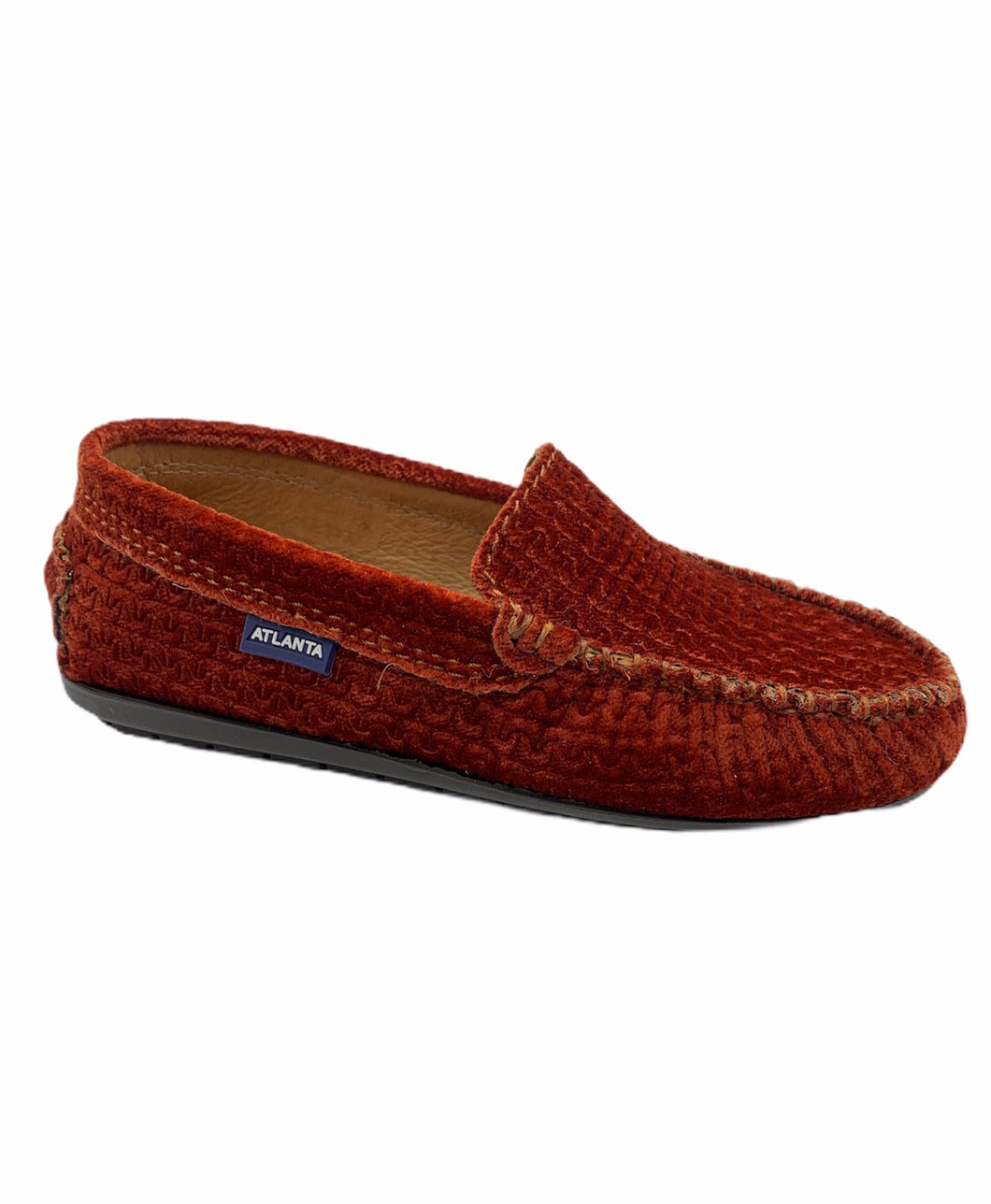 Atlanta Mocassin Rust Velvet Chain Print Loafer 15939