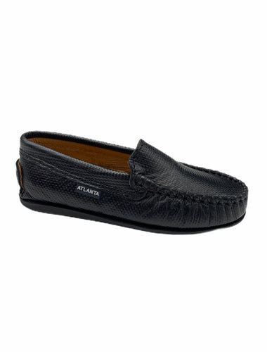 Atlanta Mocassin Black Textured Print Loafer 15397