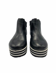 Blublonc Black Leather Raised Black White Sole Side Zipper Bootie 21001
