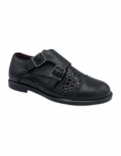 Geppettos Black Leather Crocodile Double Monk Dress Shoe 0538C