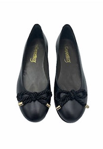 Geppettos Black Laether Bow Ballet Flat 0592