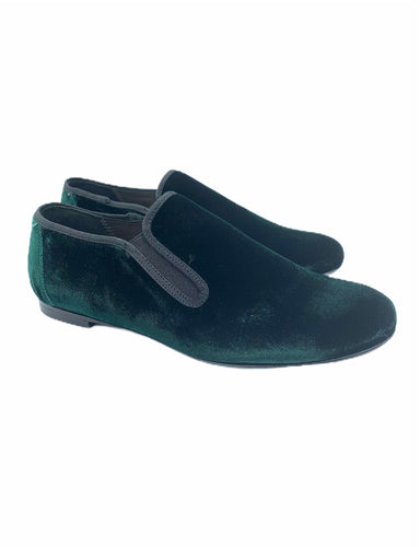Geppettos Green Velvet Smoking Slip On 138507B