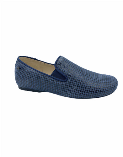 Manuela De Juan Navy Blue Houndstooth Smoking Slip On 2488