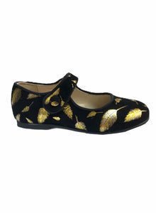 Blublonc Black Suede Gold Leaf Mary Jane