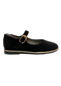 Blublonc Black Velvet Gold Trim Mary Jane 20383
