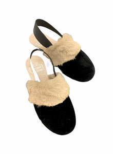 Hoo Black Velvet Natural Brown Fur Slingback 3192