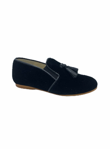 Sonatina Falvio Black Velvet Tassel Smoking Slip On