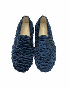 Sonatina David Teal Blue Fur Smoking Slip On