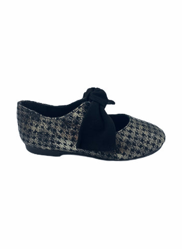 RuthSecret Black Silver Houndstooth Bow Ballet 3304