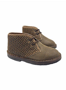 Pepe' ES X LS Brown Chevron Pony Hair Leather Print Lace Chukka Bootie 1016