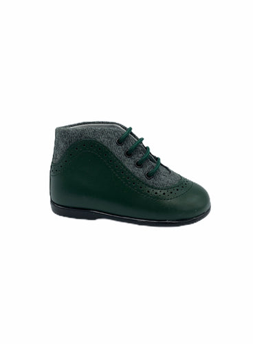 Geppettos Green Leather Grey Wool Lace Up Bootie