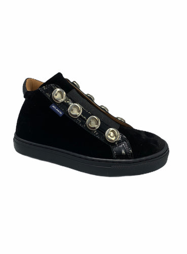 Atlanta Mocassin Black Velvet High Top Sneaker 16248