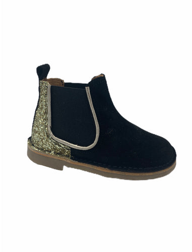 Confetti Gold Glitter Black Suede Slip On Bootie 4618