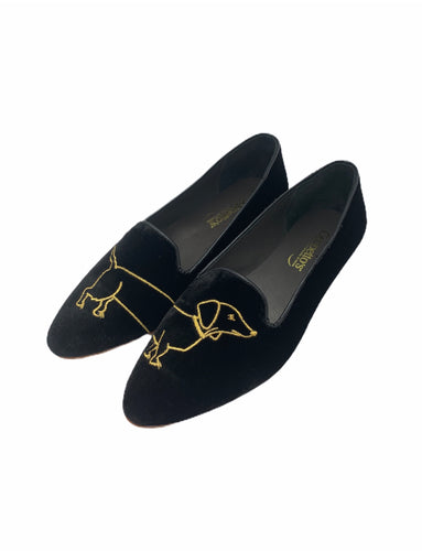 Geppettos Black Velvet Gold Dog Pointed Slip On 0570