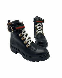Confetti Black Leather Green Red Ribbon Combat Boot 3528