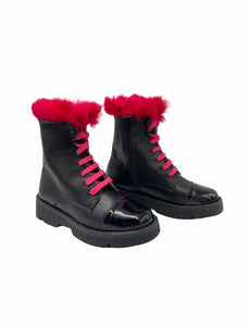 Confetti Black Leather Hot Pink Fur Combat Boot 5828