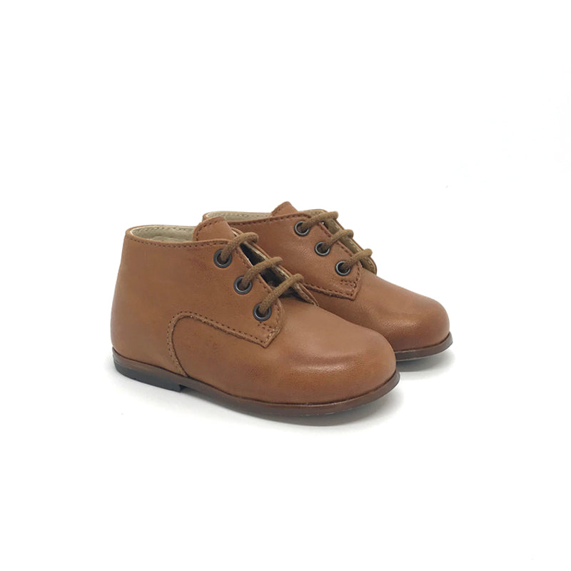 The Eugens Miloto Cognac Lace Up First Walker Toddler High Top
