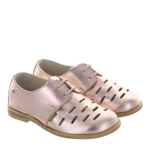 Manuela De Juan Rose Gold Tie Shoe