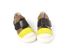 Sonatina Taupe Black Yellow Tie Sneaker