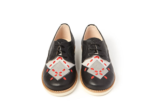 Sonatina Black Lace Oxford With Grey & Red