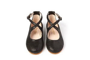 Sonatina Shana Black Criss Cross Ankle Strap Shoe