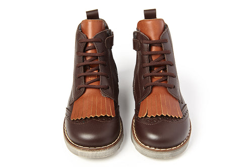 Sonatina Brown Lace Insulated High Top with Side Zipper