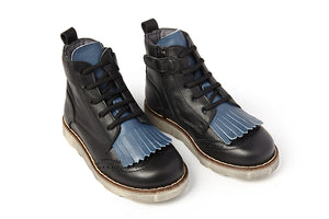 Sonatina Hugoup Black Blue Fringe Insulated Lace High Top with Side Zipper