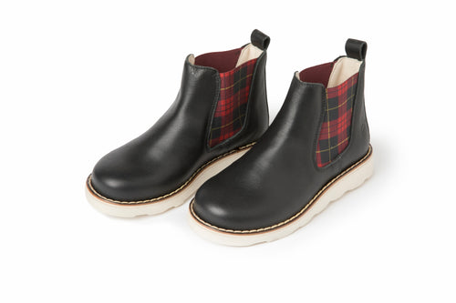 Sonatina Hero Black Red Plaid Bootie