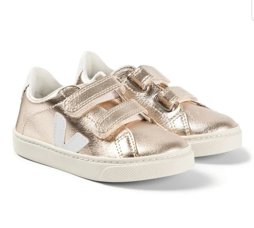 Veja Light Pink Metallic Gold Velcro Sneaker