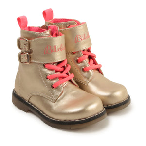 Billieblush Gold Neon Pink Combat Boot with Side Zipper Closure U09091