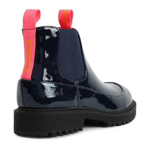 Billieblush Navy Neon Pink Slip On Combat Boot U19248