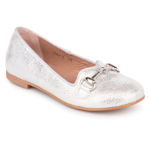 Zubii Silver Scalloped Print Chain Slip On Loafer ZU407