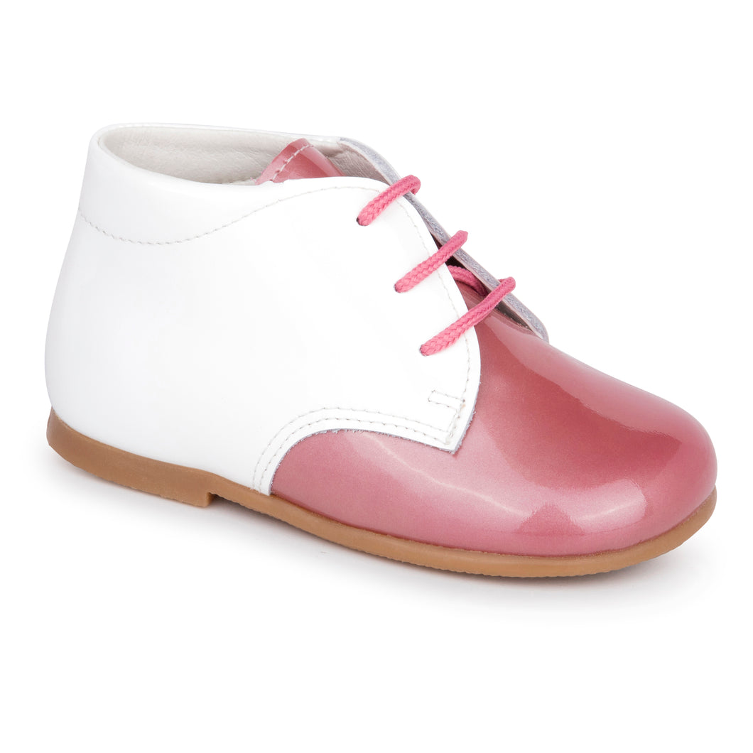 Zubii White Rose Pink Lace Up First Walker 008